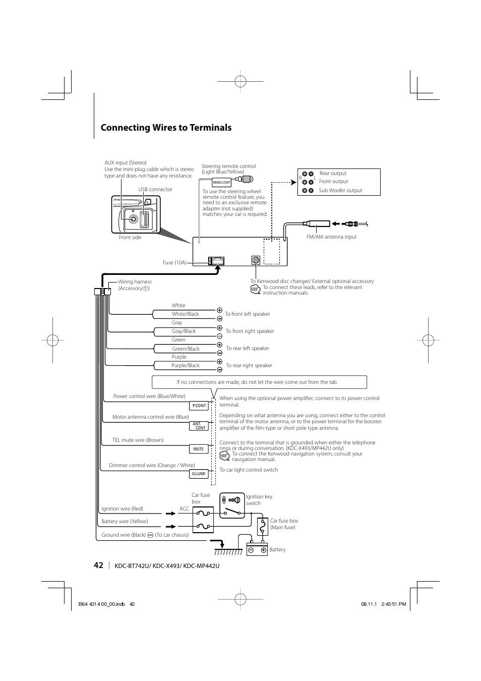 Wiring Diagram For Kenwood Kdc Bt652u : Kenwood kdc u wiring diagram