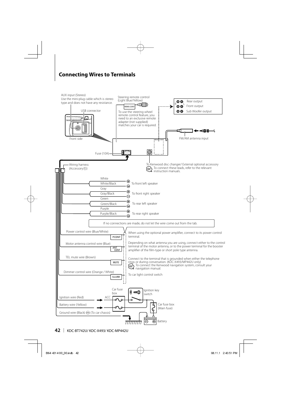 medium resolution of connecting wires to terminals kenwood kdc bt742u user manual schematic diagram connecting wires to terminals kenwood
