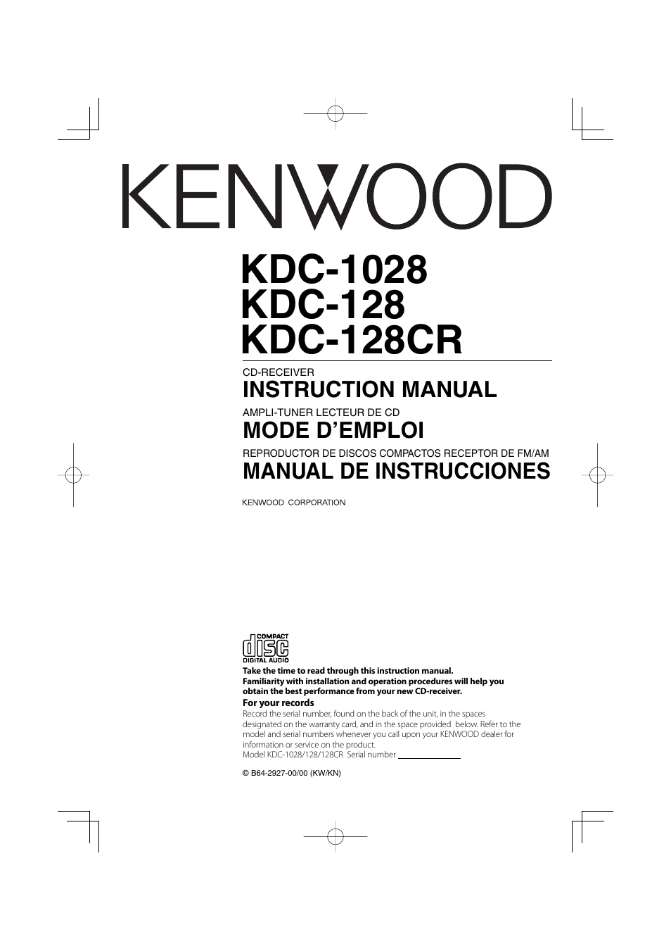 hight resolution of kenwood kdc 152 wiring diagram beautiful 138 in fonar me source kenwood kdc 128cr user manual 72 pages also for kdc 1028 kdc 128 kenwood kdc 205