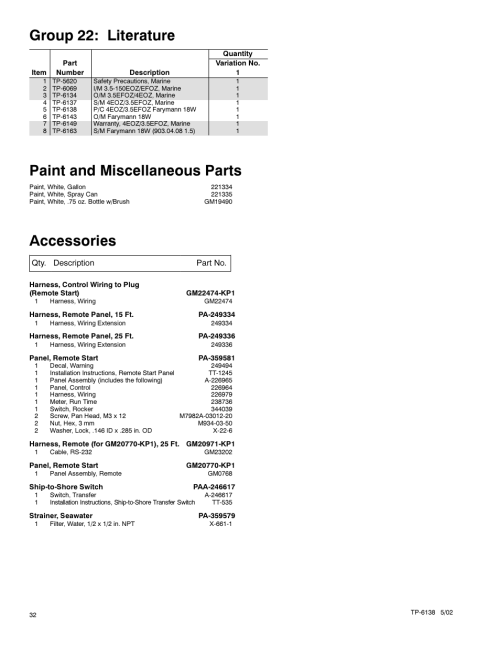 small resolution of group 22 literature paint and miscellaneous parts accessories kohler 4eoz user manual page 34 44