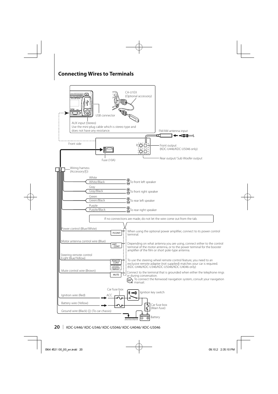 kenwood kdc wiring diagram manual 1976 ct90 connecting wires to terminals u3046 user page 20 24