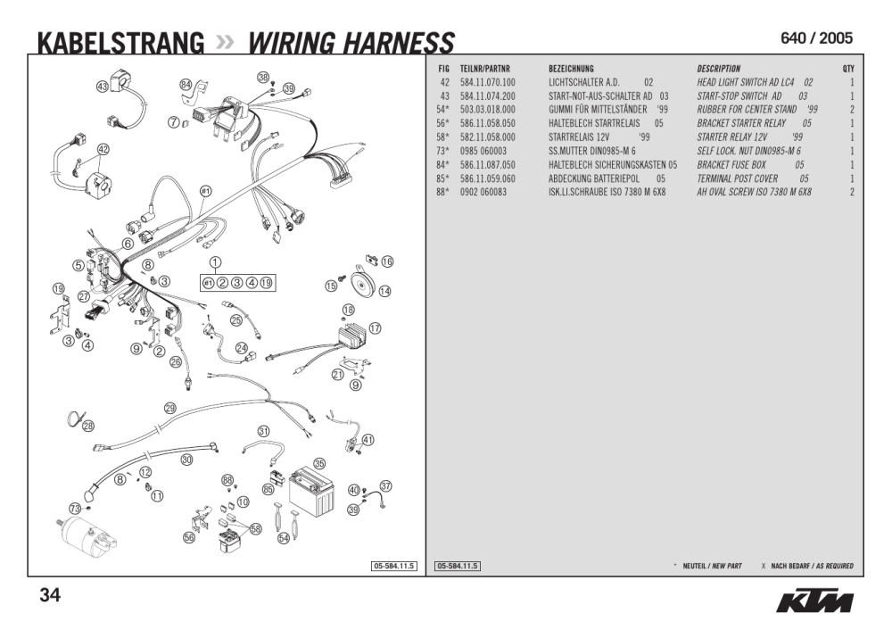medium resolution of kabelstrang wiring harness ktm supermoto 640 lc4 user manual rh manualsdir com ktm 640 adventure fuse box ktm dual sport motorcycles