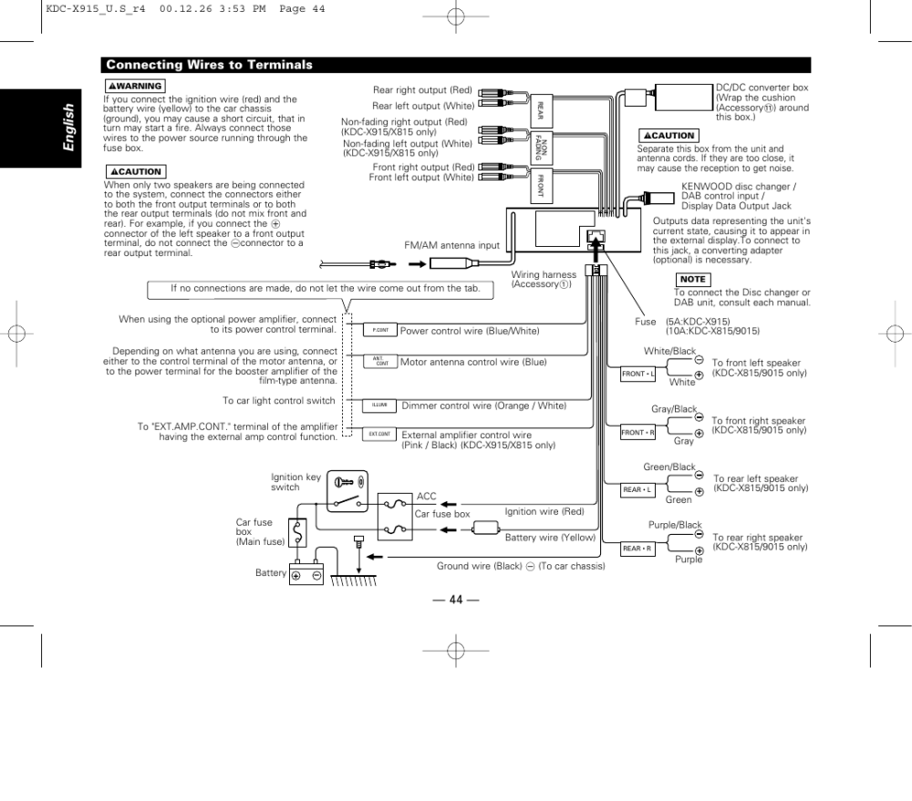 medium resolution of connecting wires to terminals english kenwood kdc 9015 user
