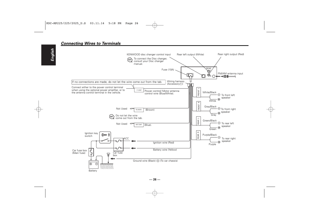 medium resolution of connecting wires to terminals english kenwood kdc 2025 user manual page 26