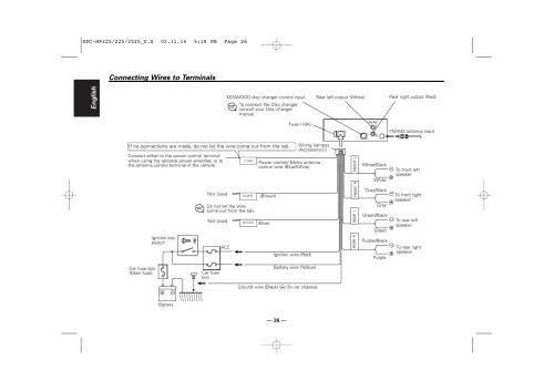 small resolution of connecting wires to terminals english kenwood kdc 2025 user manual page 26