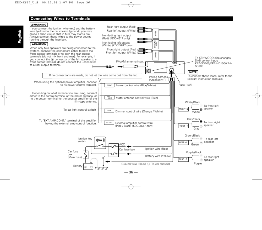 medium resolution of connecting wires to terminals english 36 connecting wires to kenwood kdc 516s wiring diagram