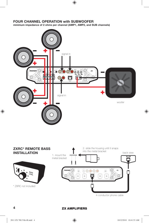 small resolution of wiring diagram 5 channel 13 kicker wiring libraryzxrc remote bass installation four channel operation