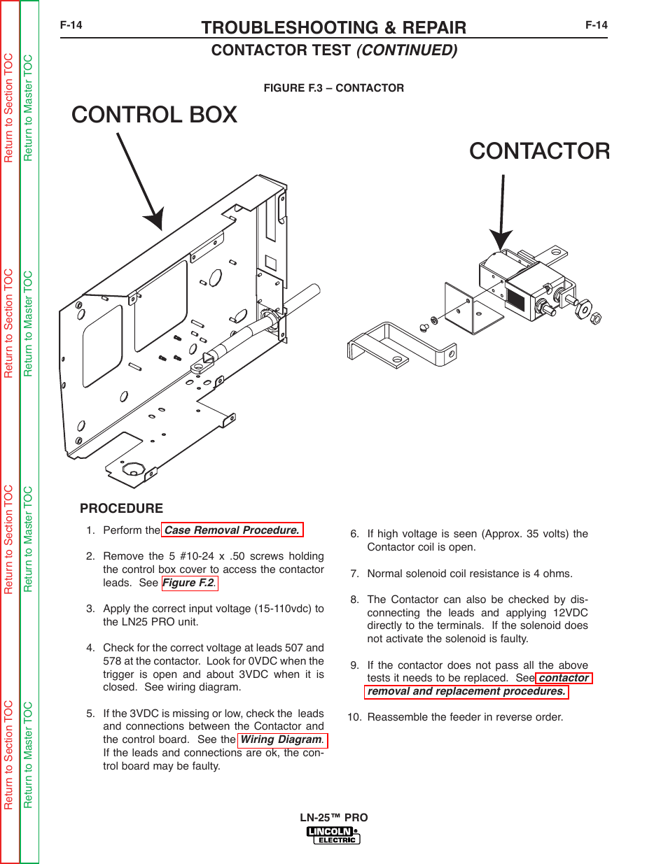 hight resolution of contactor control box troubleshooting repair contactor test continued lincoln electric ln 25 svm179 b user manual page 58 103