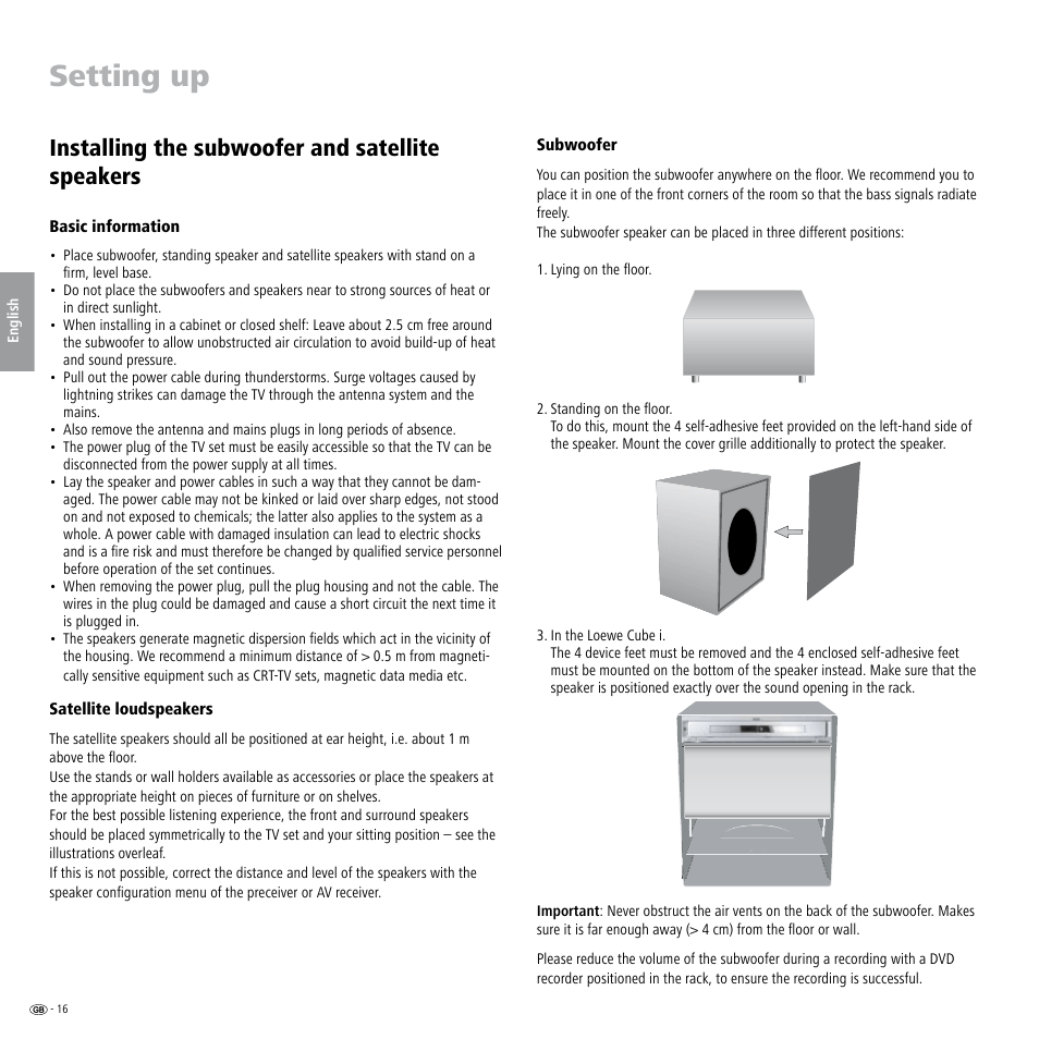 medium resolution of setting up installing the subwoofer and satellite speakers basic information satellite loudspeakers