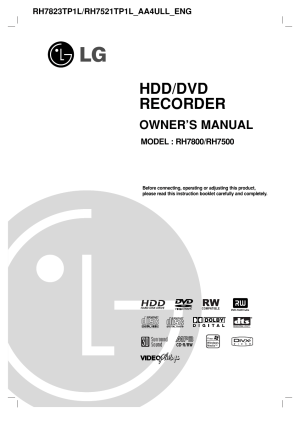 LG RH7800 User Manual | 62 pages | Also for: RH7500