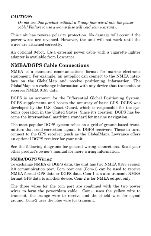 small resolution of nmea dgps cable connections lowrance electronic globalmap 5000c user manual page 19 128