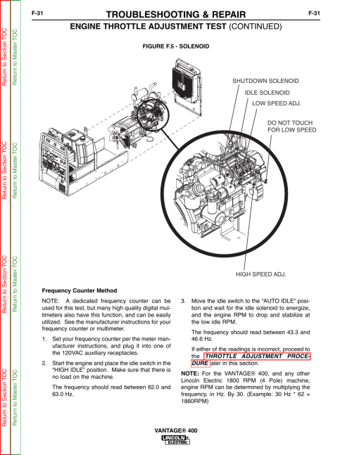small resolution of troubleshooting repair engine throttle adjustment test continued lincoln electric vantage 400 user manual page 79 166