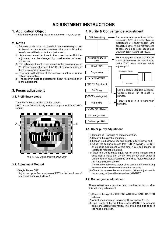 Adjustment instructions, Application object, Focus