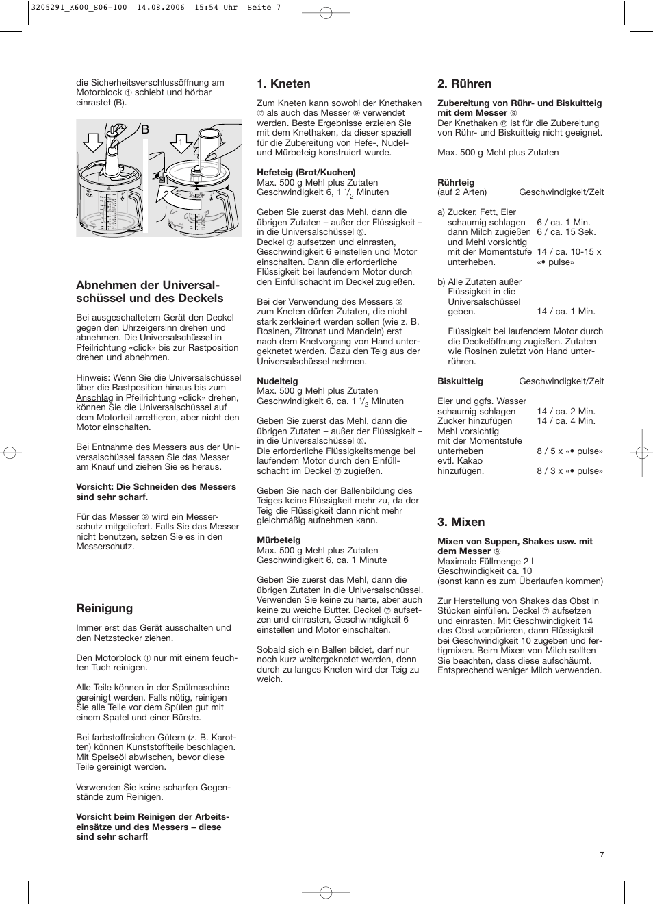 Abnehmen der universal- schüssel und des deckels