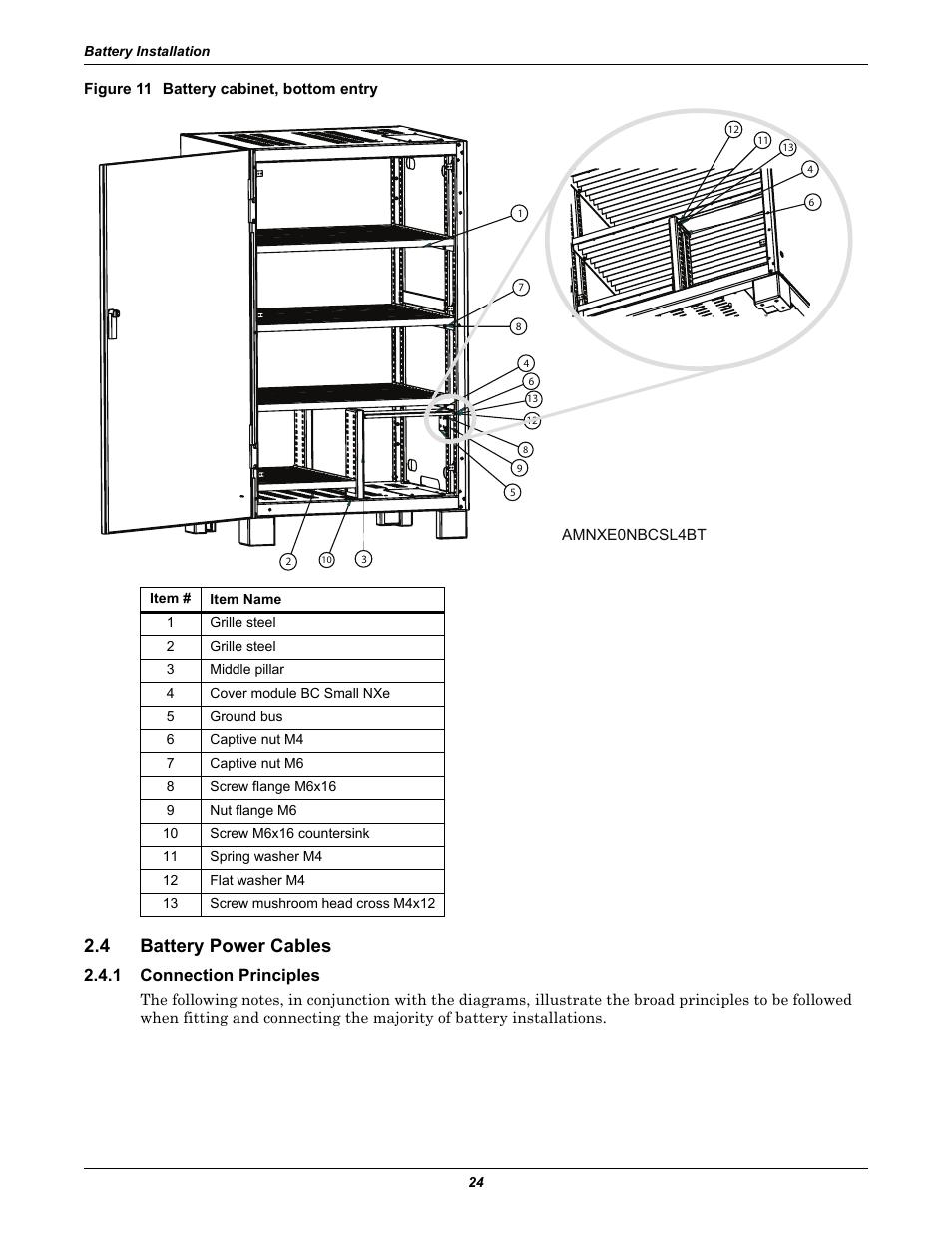 Figure 11 battery cabinet, bottom entry, 4 battery power