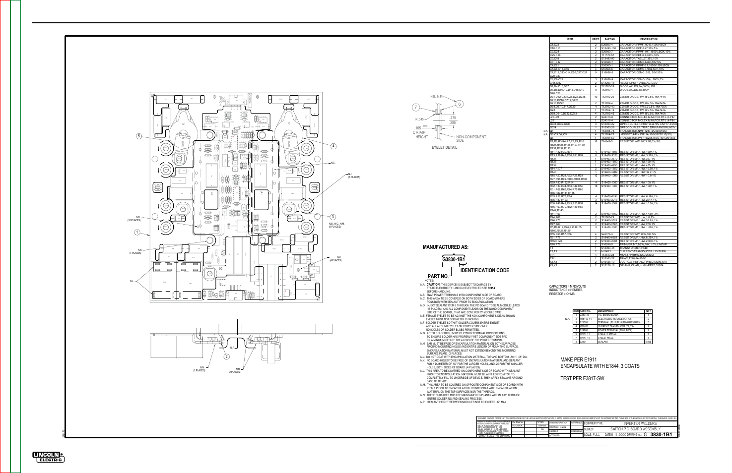 Electrical diagrams, G-12, Pc board assembly-switch