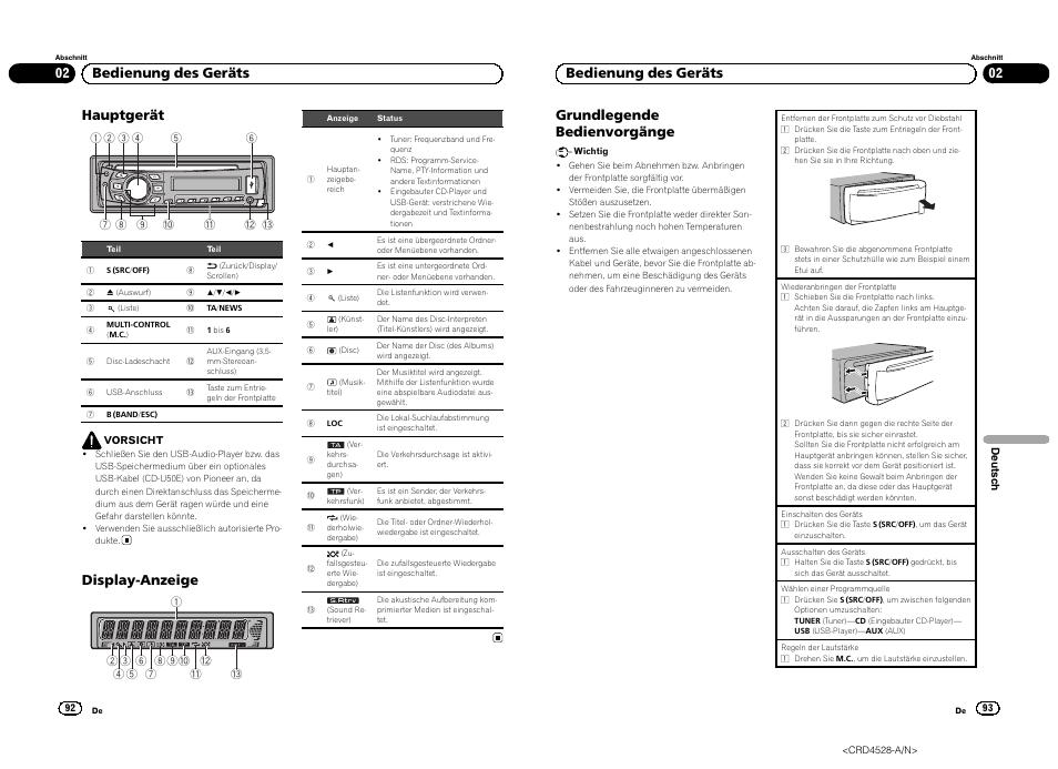 Hauptgerät, Display-anzeige, 02 bedienung des geräts