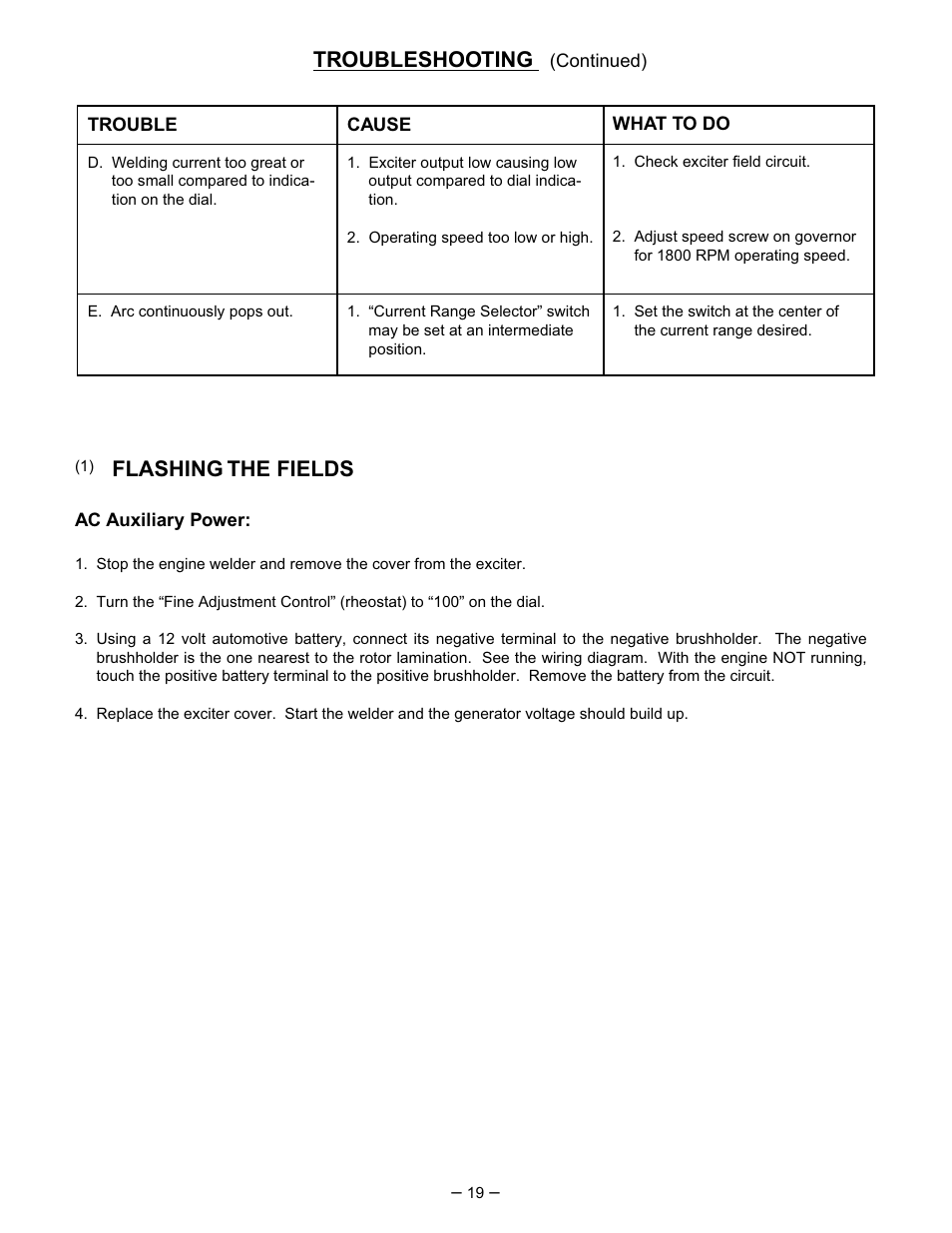 hight resolution of troubleshooting flashing the fields lincoln electric perkins sa 250 user manual page 20 28