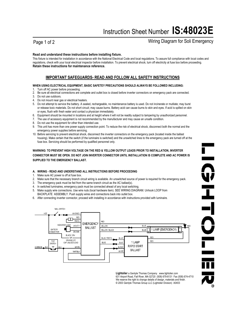 medium resolution of lightolier wiring diagram for soli emergency 48023e user manual 2 pages