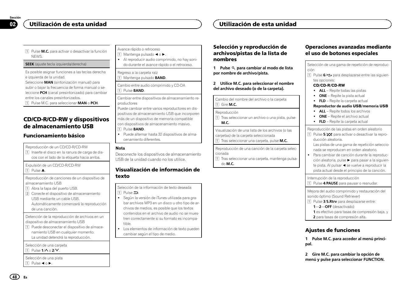 Seek, Seek (ajuste tecla izquierda/derecha), Cd/cd-r/cd-rw