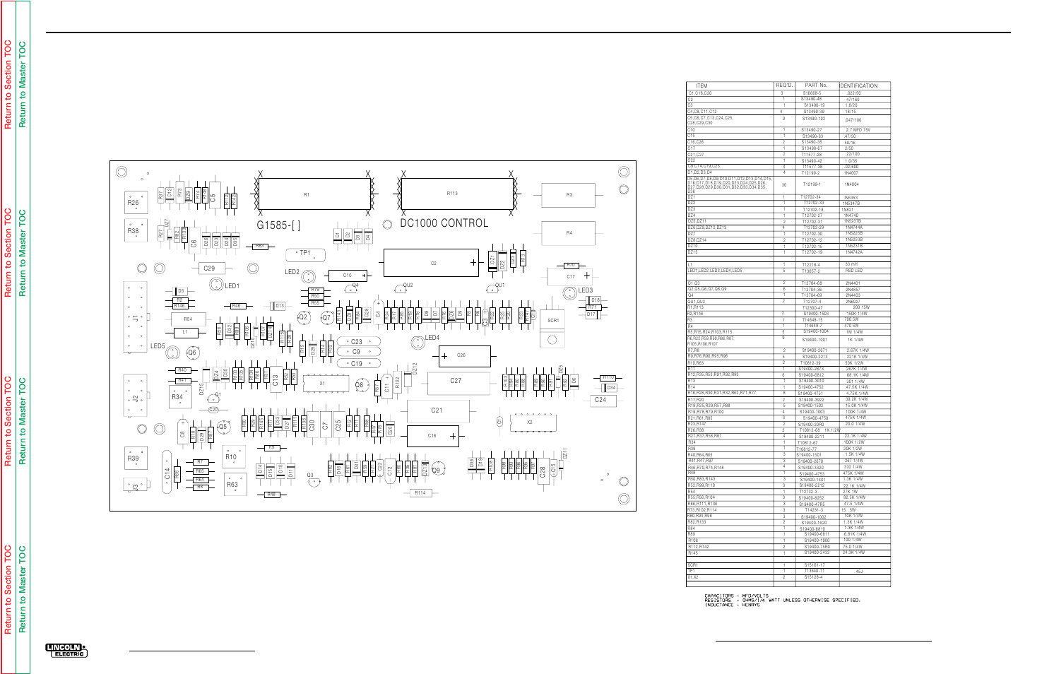 Electrical diagrams, Control pc board (g1585) layout