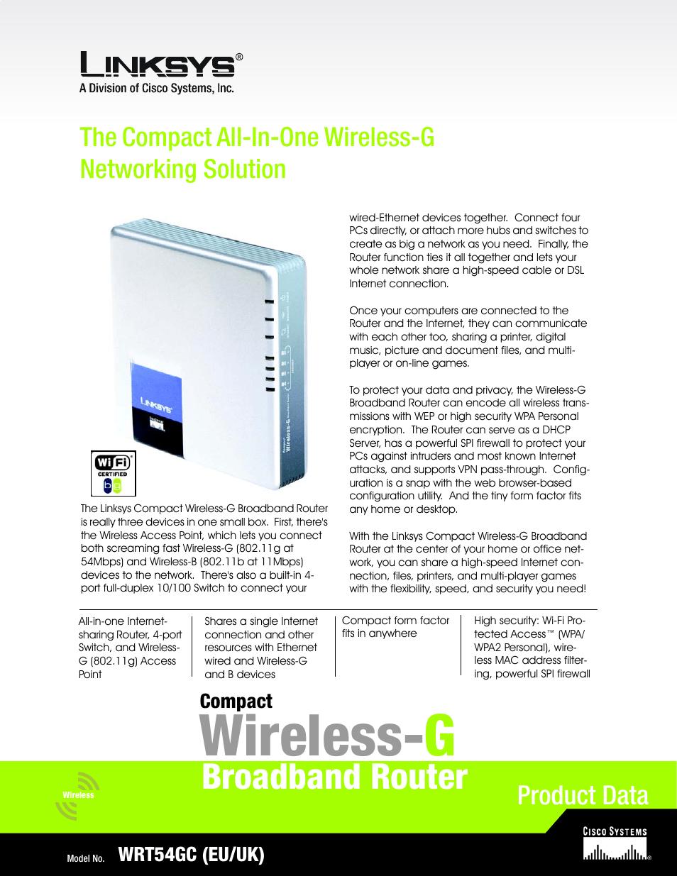 LINKSYS WRT54GC USER MANUAL PDF