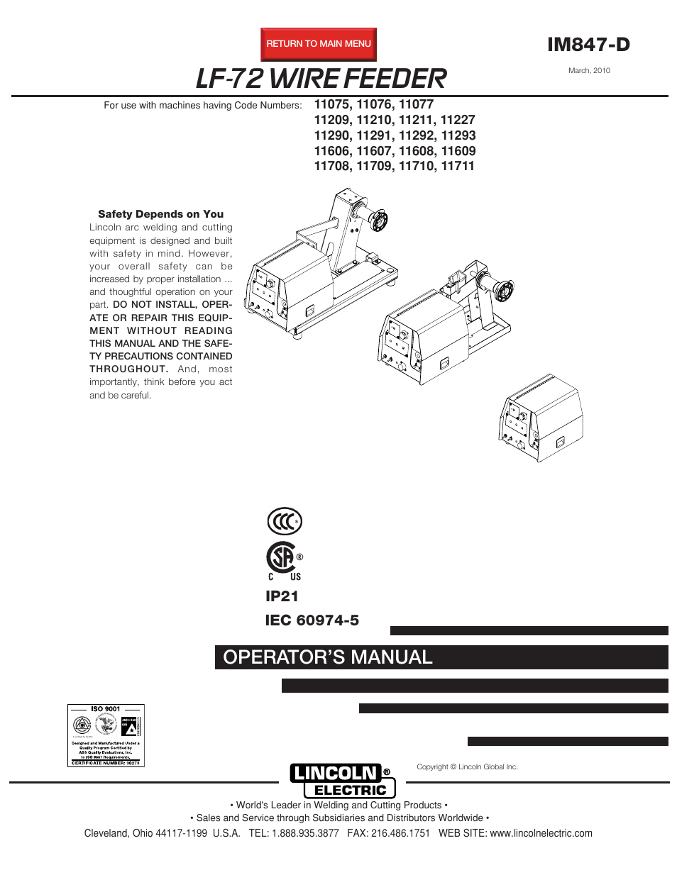 Lincoln Electric LF-72 WIRE FEEDER IM847-D User Manual