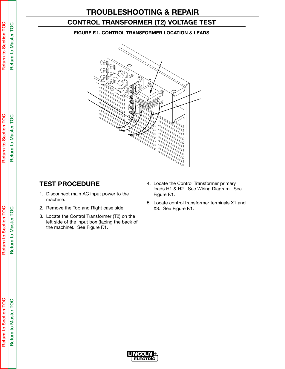 medium resolution of troubleshooting repair test procedure control transformer t2 voltage test lincoln electric multi source svm155 a user manual page 38 96