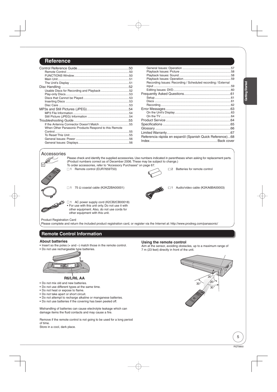 Accessories, Remote control information, Reference