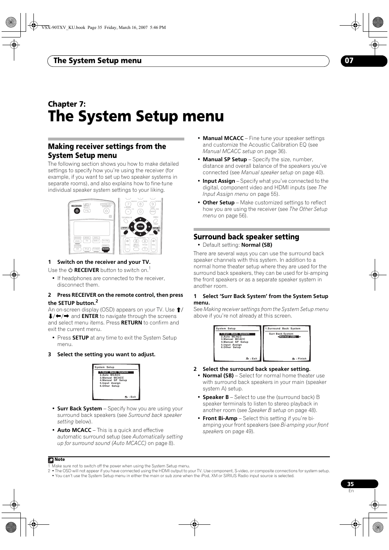 07 the system setup menu, The system setup menu, The