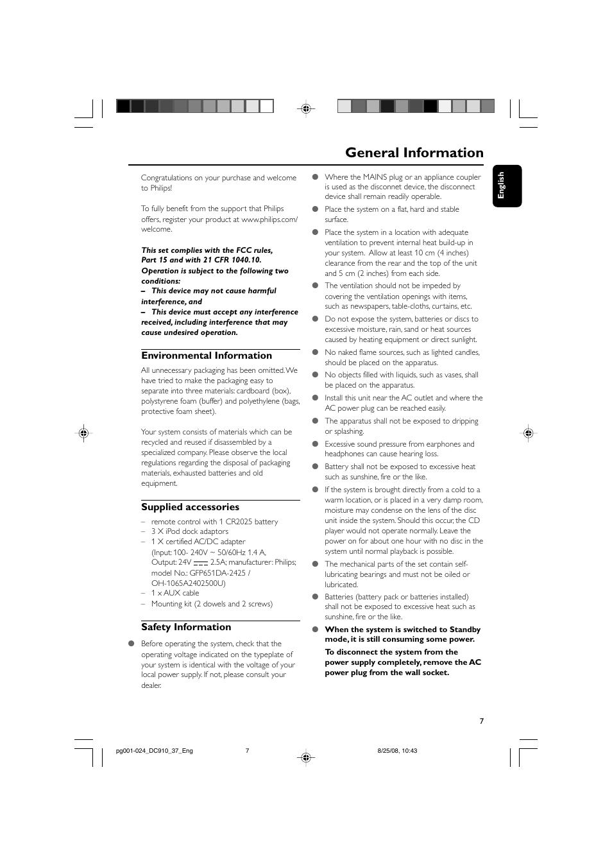 General information, Environmental information, Supplied