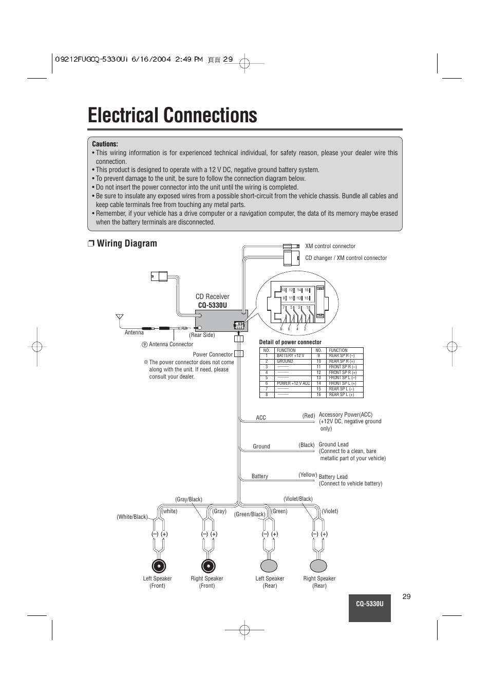 medium resolution of electrical connections wiring diagram panasonic cq 5330u user manual page 29