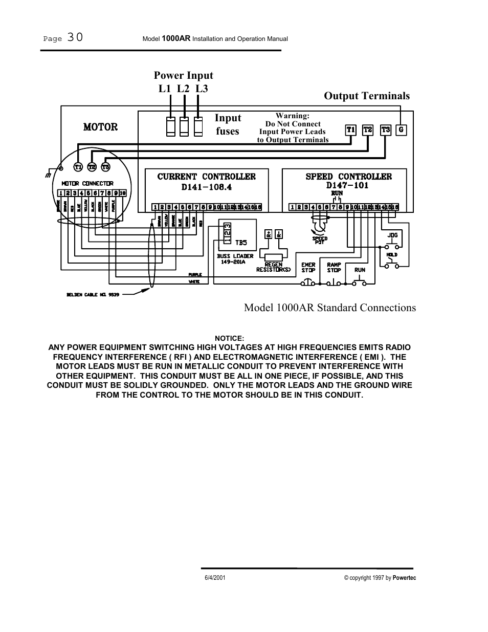 medium resolution of output terminals power input l1 l2 l3 input fuses model 1000ar standard connections