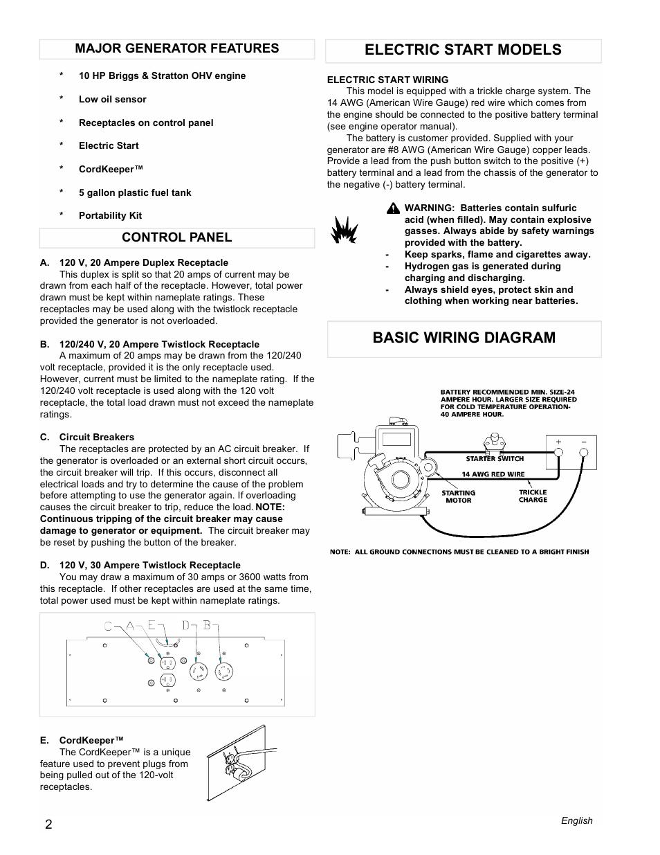 medium resolution of electric start models basic wiring diagram control panel major generator features powermate pma505622 user manual page 2 12