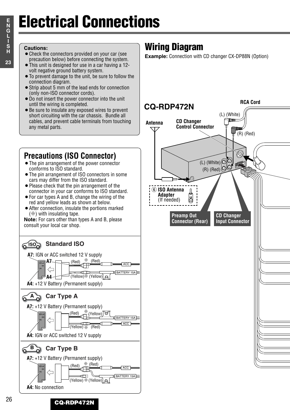 medium resolution of electrical connections wiring diagram precautions iso connector panasonic cq rdp472n user manual page 26 36