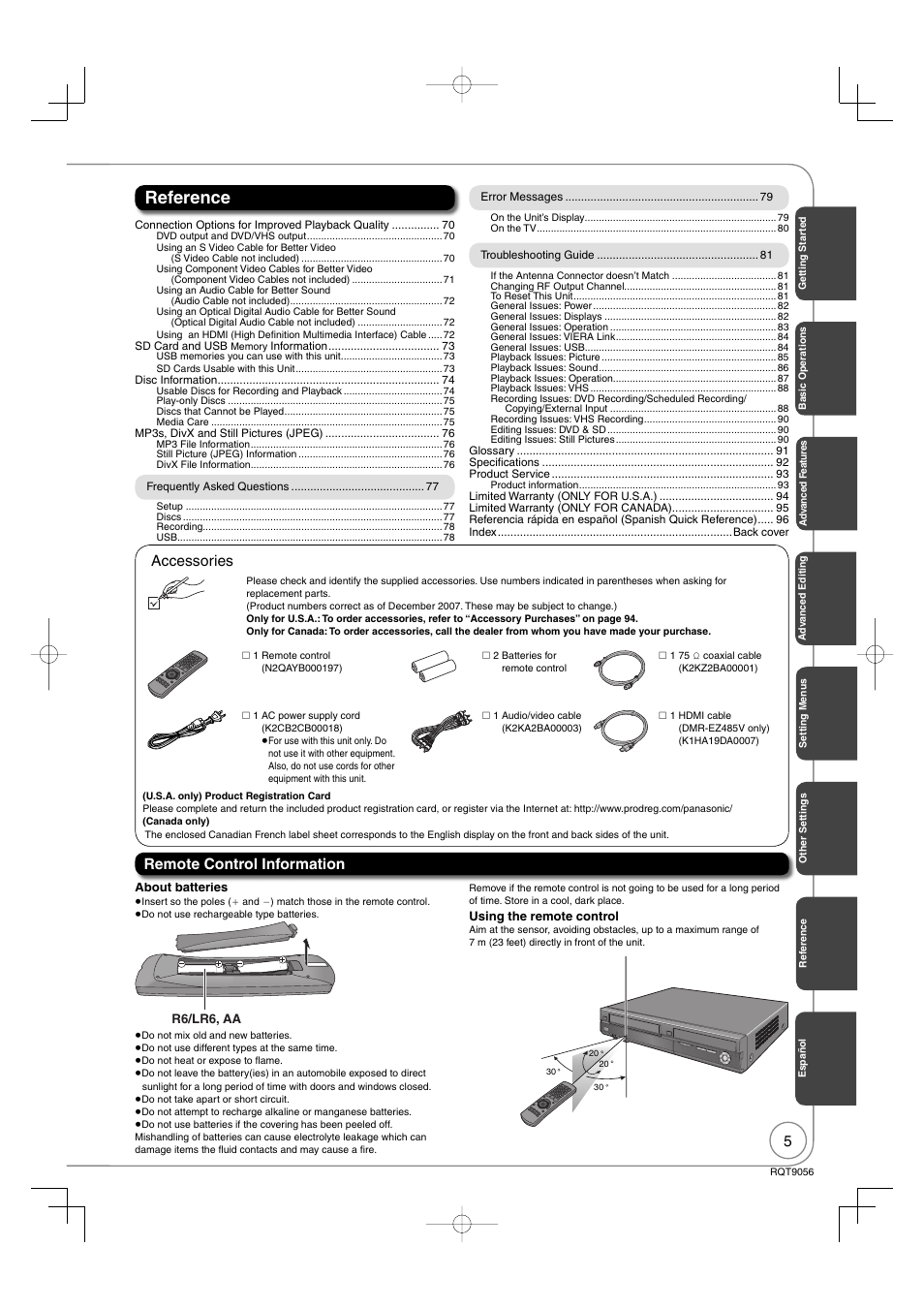 Reference, Remote control information, Accessories