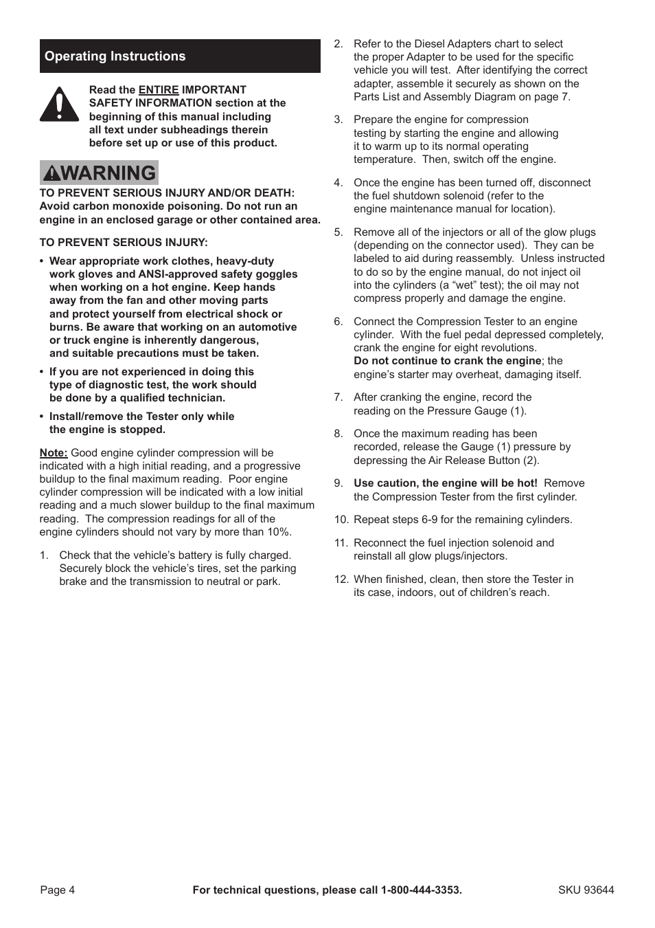 medium resolution of ppg pittsburgh paints pittsburgh diesel engine compression tester 93644 user manual page 4 8