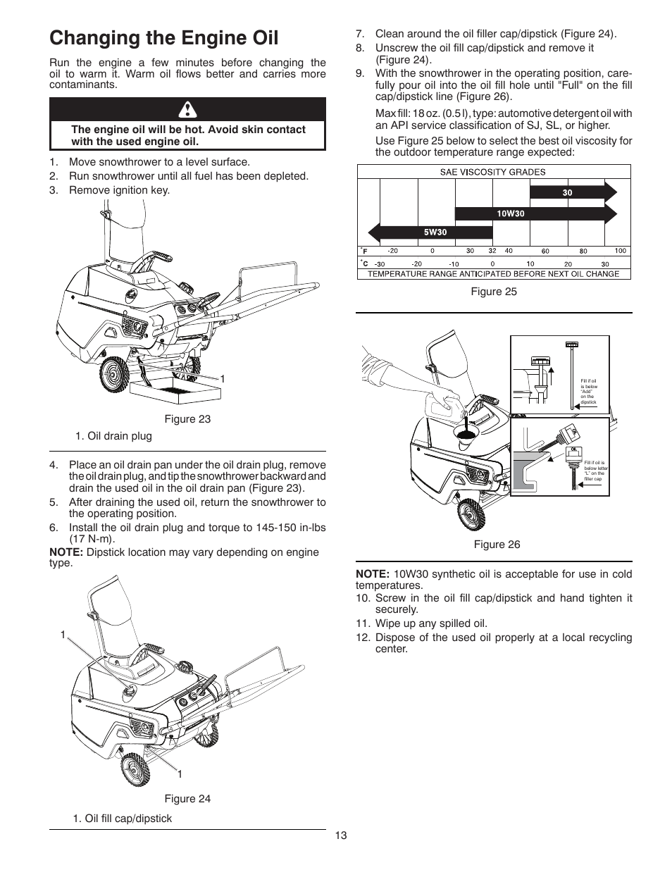 hight resolution of changing the engine oil poulan pro pr621 snow thrower user manual page 13 30
