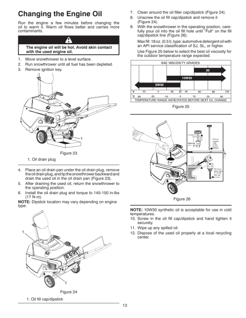 small resolution of changing the engine oil poulan pro pr621 snow thrower user manual page 13 30