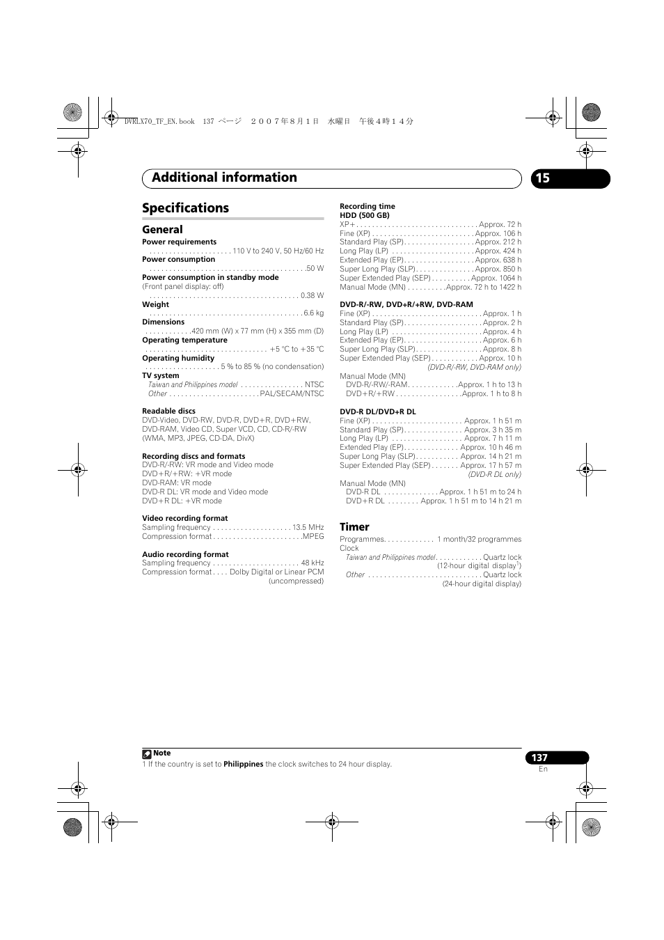 Specifications, Additional information, 15 specifications