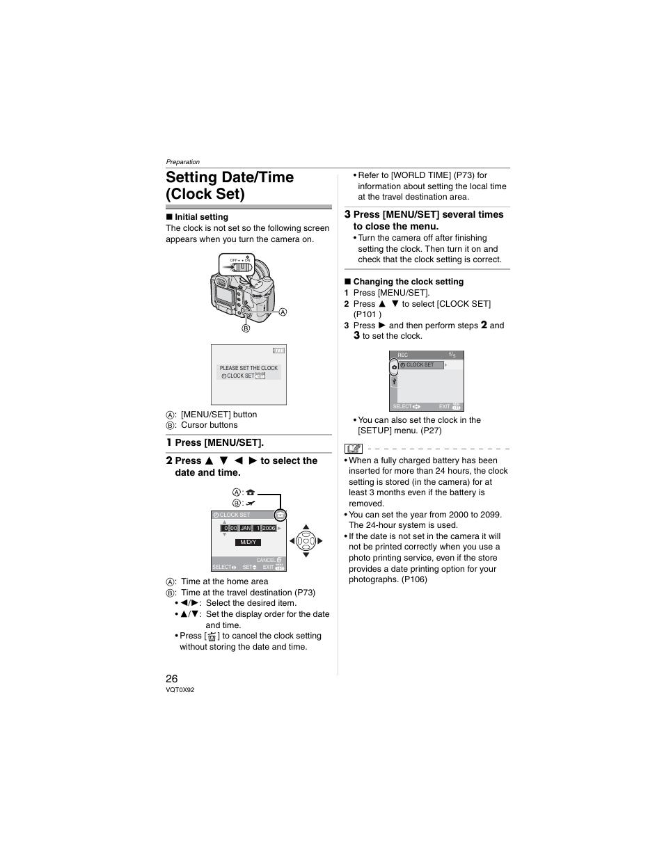 Setting date/time (clock set), 3 press [menu/set] several