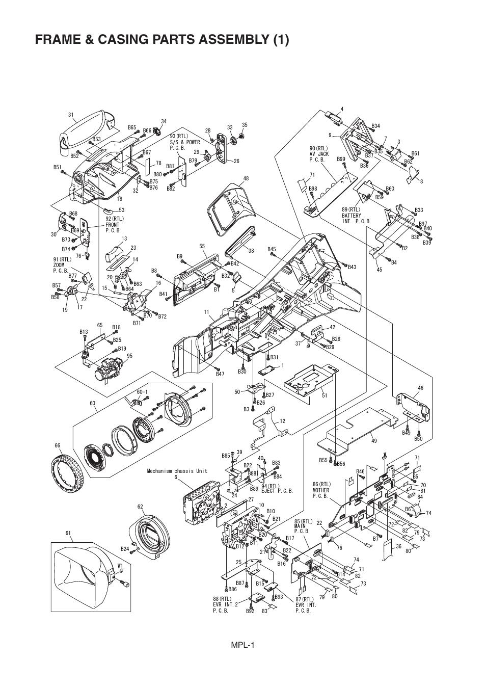 Frame &casing parts assembly (1), Frame & casing parts