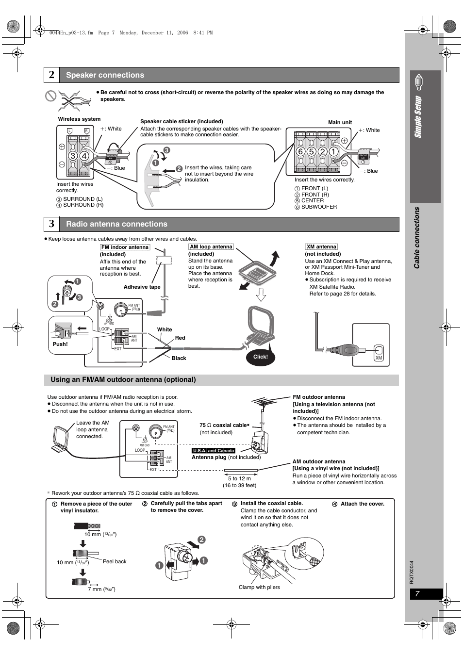 Speaker connections, Radio antenna connections, Si mp le s