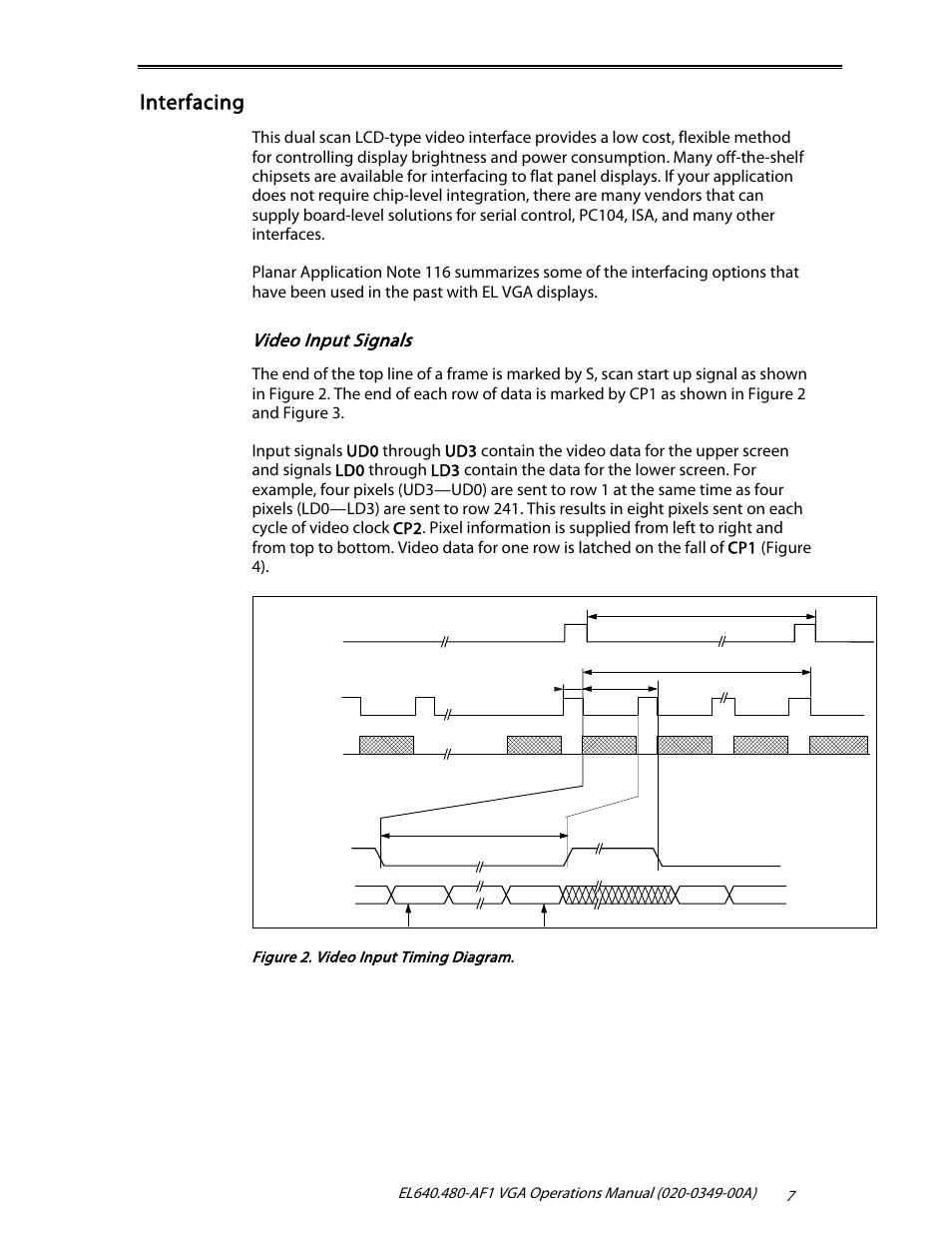 hight resolution of interfacing video input signals planar el640 480 af1 user manual page 9 17