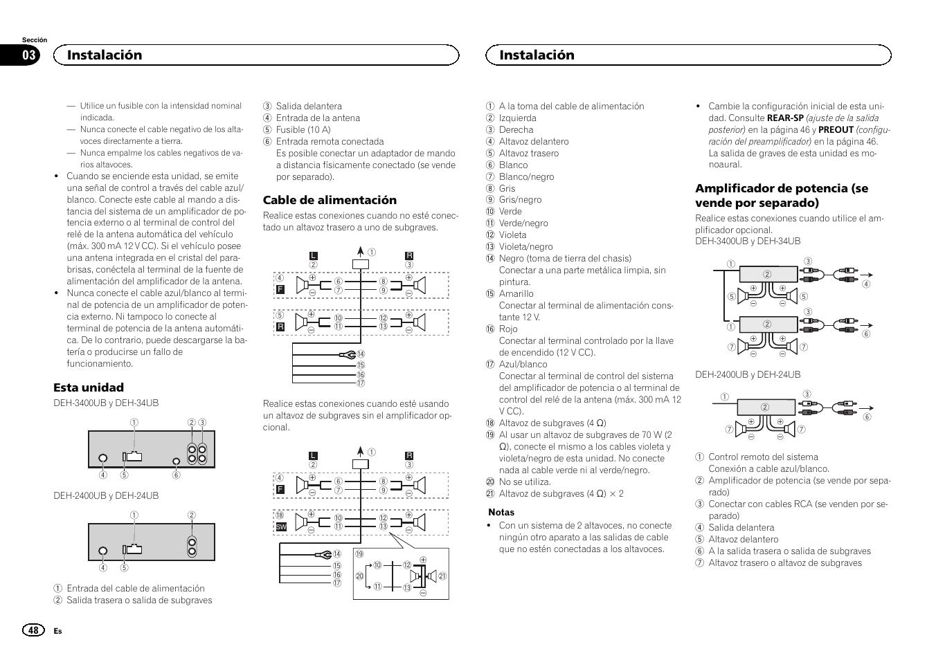 pioneer radio manual australian power plug wiring diagram instalacion deh 2400ub user page 48 56