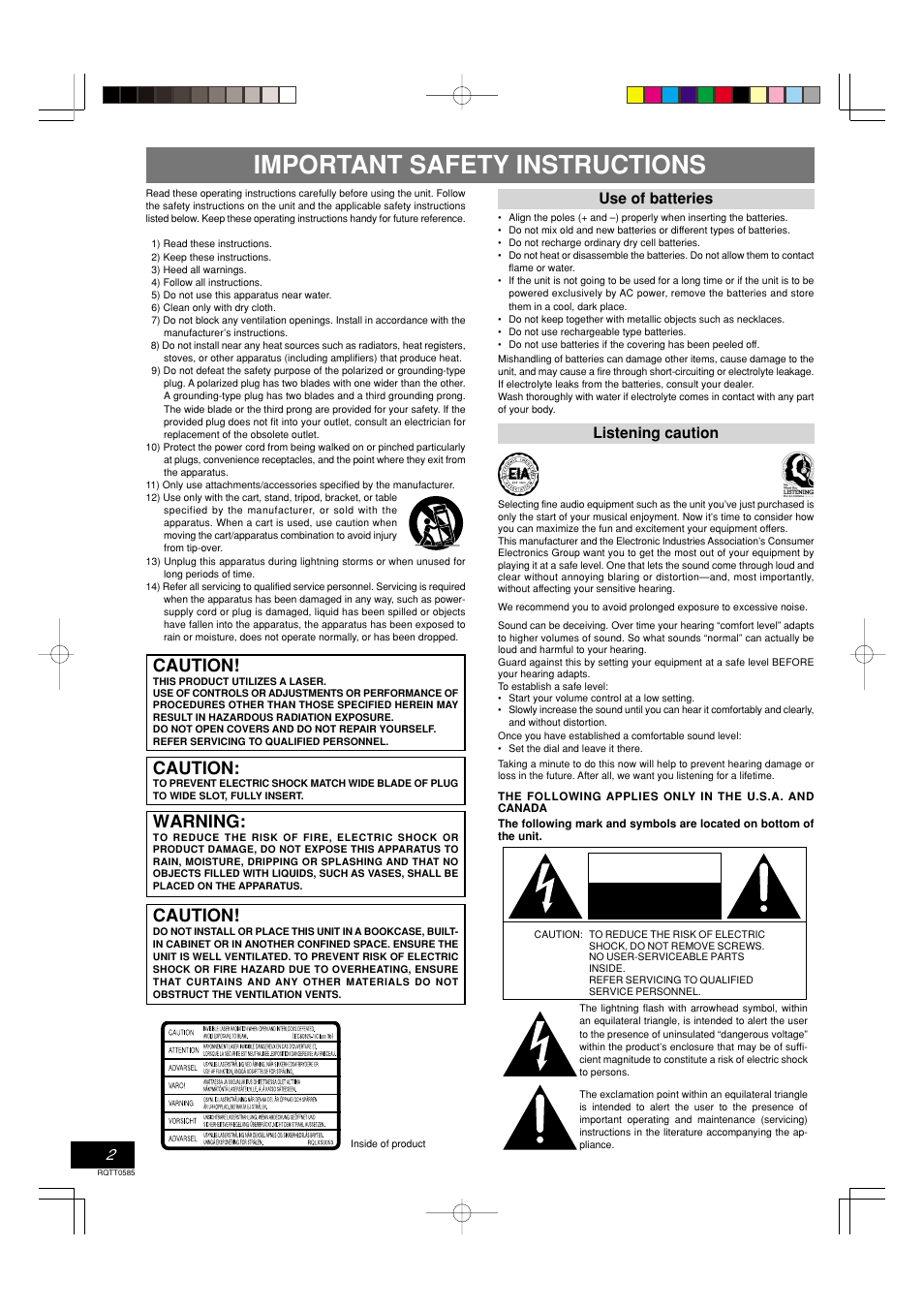 Important safety instructions, Caution, Warning