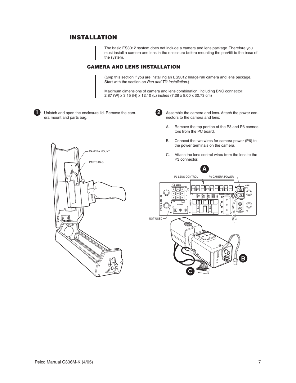 hight resolution of installation camera and lens installation ab c 1 pelco esprit es3012 user manual page 7 40