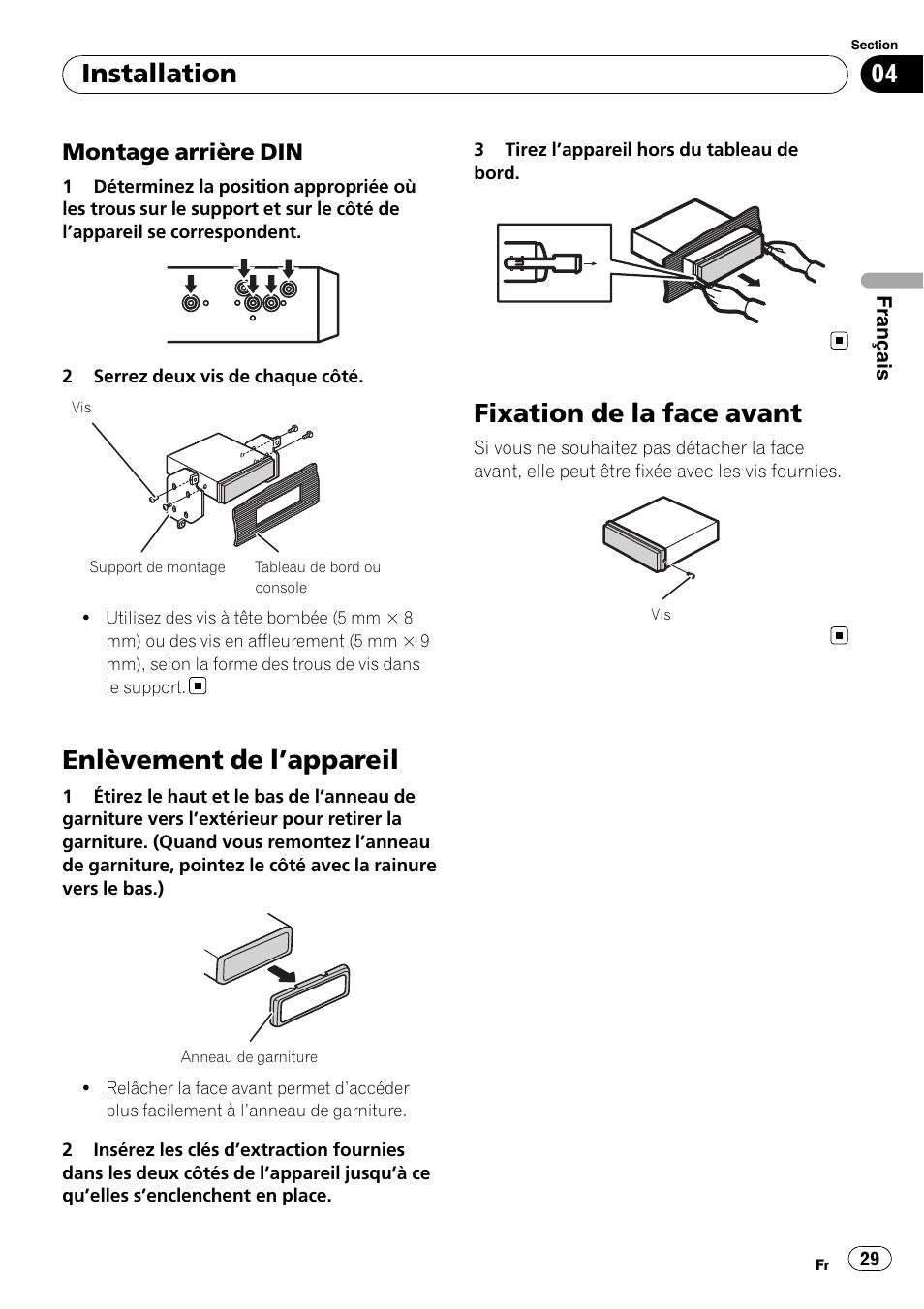 pioneer deh 1200mp wiring diagram 2 volt speakers enlevement de l appareil fixation la face avant installation montage arriere