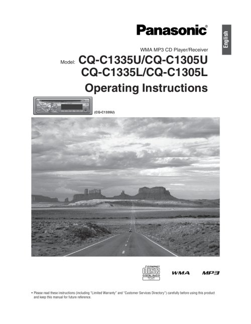 small resolution of panasonic cq c1305l user manual 24 pages also for cq c1335l