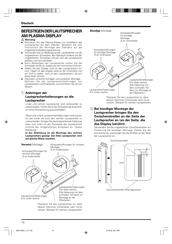 Befestigen der lautsprecher am plasma display, Deutsch